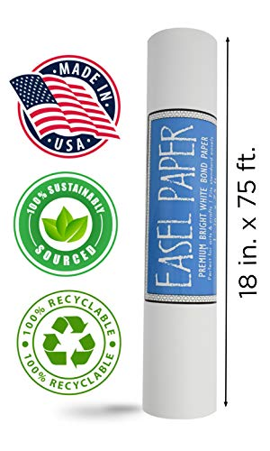 (White Art Easel Paper Roll (18 Inch by 75 Feet) - 100% Recyclable Non-Yellowing Arts and Crafts Bond Paper for Paper Tablecloths, Bulletin Board Backing and Wall-Mount Note Stations)