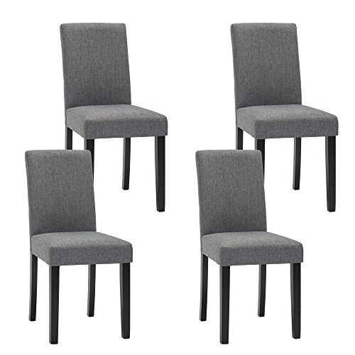 NOBPEINT Urban Style Solid Wood Fabric Padded Parson Chair, Grey, Set of 4 ()