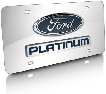 Ford F-150 Built Ford Tough Chrome Steel License Plate Frame Caps Screws