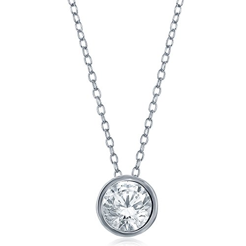 (OMG Jewelry Womens and Girls Sterling Silver 925 Cubic Zirconia Round Pendant Necklace 18' Chain)