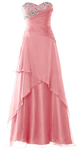 MACloth Strapless Long Prom Dress Crystals Tiered Chiffon Formal Evening Gown Blush Pink