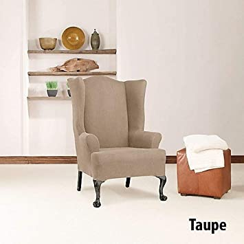 Sure Fit Stretch Wing Chair Slipcover – Taupe Imported SF44473