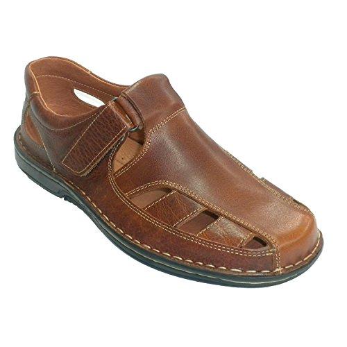 sandales homme piqués fermé 48 Hours en brun moyen