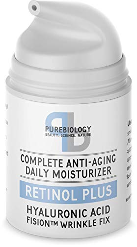 Pure Biology Retinol Moisturizer Cream with Hyaluronic Acid, Vitamins B5, E & Breakthrough Anti Aging, Anti Wrinkle Complex - Face & Eye Skin Care for Men & Women, All Skin Types, 1.7 OZ