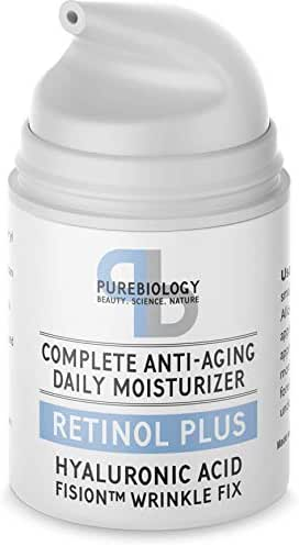 Pure Biology Retinol Moisturizer Cream with Hyaluronic Acid, Vitamins B5, E & Breakthrough Anti Aging, Anti Wrinkle Complex – Face & Eye Skin Care for Men & Women, All Skin Types, 1.7 OZ