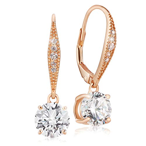 Lusoro 925 Sterling Silver Rose Gold Plated Round AAA Cubic Zirconia Pave Leverback Dangle Earrings