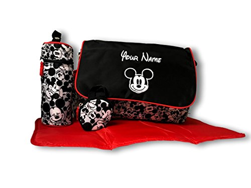 Personalized Disney Mickey Mouse Black and White Expression Print Baby Duffel Diaper Bag with Flap- 18 Inches