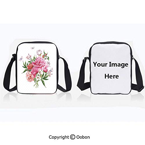 Polyester Anti-Theft Everything Crossbody Bag Unisex Teen Floral Watercolor Style Card Design Bloom Wildflowers Butterflies Bouquet Polkadot White Pink Green Lightweight Zipper Multi-Pocketed Travel