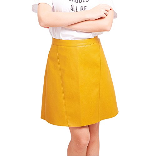 Belle Mini Mix - BELLA PHILOSOPHY Women's Leather Skirt PU Faux High Waist Zipper A-line Mini Skirt