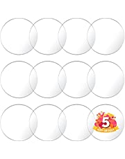 DUGATO Round Clear Acrylic Sheet Set of 12 Transparent Plastic Blank Disc Circle Sign Panel for Picture Frame DIY Art & Craft (4 inch)