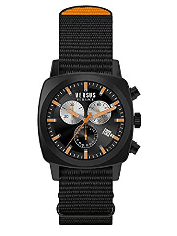 Versus by Versace Men's SOI020015 RIVERDALE Black Stainless Steel Watch with Canvas Strap (Gold Versus Watches For Men)
