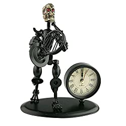 2 in 1 Balck Iron Art Nut And Bolt Skull Music Man Figure Elegant Unique Western Style Clock Watch ~Home Office Desk Decor Gift (Small Horn)