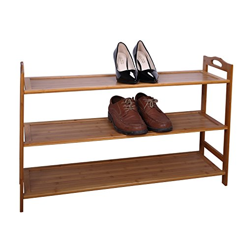 Cinlv 3 Tier Bamboo Shoe Shelf Storage Organizer Entryway Shoe Rack Home Shelf Storage Cabinet for Shoes Books and Flowerpots by Cinlv