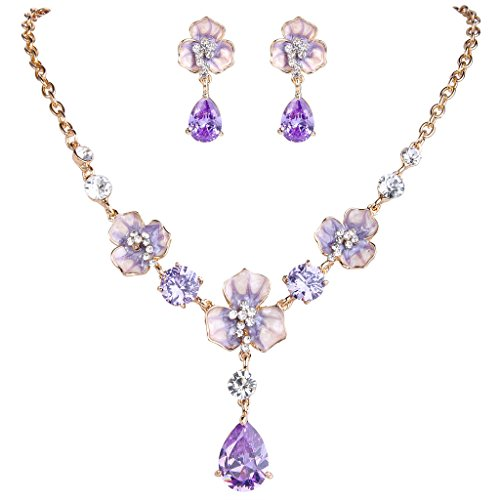 EVER FAITH Gold-Tone CZ Crystal Enamel 3 Flowers Tear Drop Pendant Necklace Earrings Set Lavender Color Lavender Stone Set