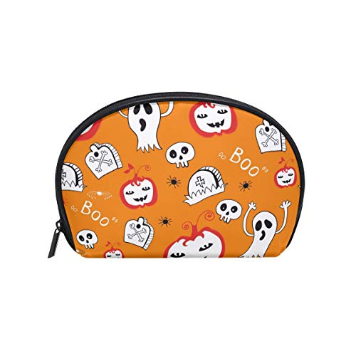 LORVIES Hallowen Ghost Pumpkin Pattern Cosmetic Pouch Clutch Makeup Bag Travel Organizer Case Toiletry Pouch for Women ()