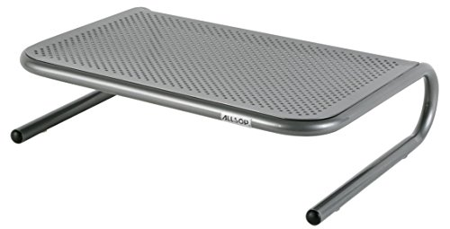 Allsop Metal Art Jr. Monitor Stand, 14-Inch wide platform holds 40 lbs with keyboard storage space - Pewter (27021) from Allsop