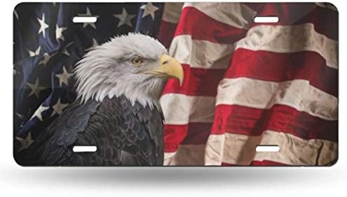 4 Holes Ja Yhou dontcy Bald Eagle USA Flag Decorative Car Front License Plate,Vanity Tag,Metal Car Plate,Aluminum Novelty License Plate,6 X 12 Inch