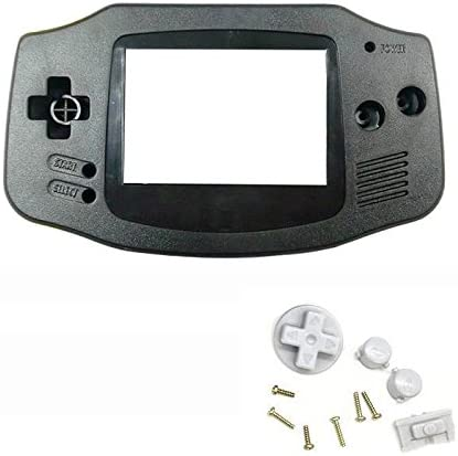 Feicuan Game Machine Cover Case Housing Shell with Mirror Button Kit Set Replacement Part Repair Accessory for GBA Host Black