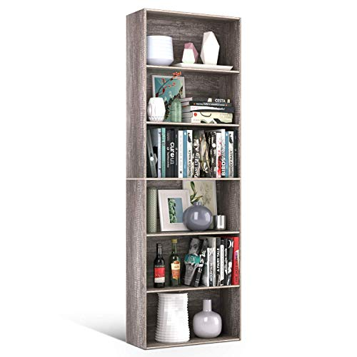 Homfa Bookshelf 70 in Height, Wood Bookcase 6 Shelf Free Standing Display Storage Shelves Standard Organization Collection Decor Furniture for Living Room Home Office, Dark Oak