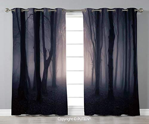 Grommet Blackout Window Curtains Drapes [ Farm House Decor,Path Through Dark Deep in Forest with Fog Halloween Creepy Twisted Branches Picture,Pink Brown ] for Living Room Bedroom Dorm Room Classroom