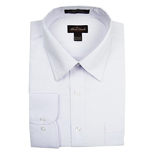 Mens Solid White Dress (Alberto Danelli Men's Solid Long Sleeve Dress Shirt,White,Large / 16-16.5