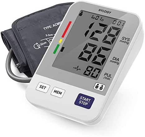 Blood Pressure Monitor, HYLOGY Digital Upper Arm BP Machine Automatic with Large Screen Display and 2 Users Modes, 2 * 90 Memory Storage, CE FDA Approved
