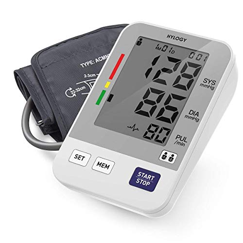 (Blood Pressure Monitor, HYLOGY Digital Upper Arm BP Machine Automatic with Large Screen Display and 2 Users Modes, 2 * 90 Memory Storage, CE FDA Approved)