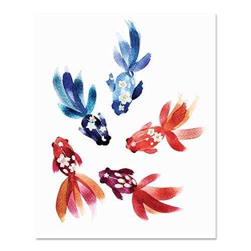 Colorful Goldfish Art Print Beautiful Outdoor Ocean Sea Life Asian Inspiration Watercolor Wall Art Floral Springtime Underwater Wall Decor Marine Tropical Fish River Lake Home Decor 8 x 10 Inch
