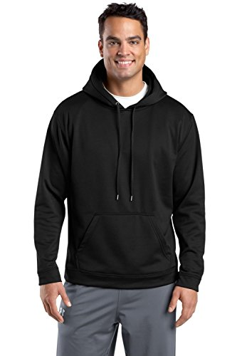 Sport-Tek Men's Sport Wick Fleece Hooded Pullover L Black