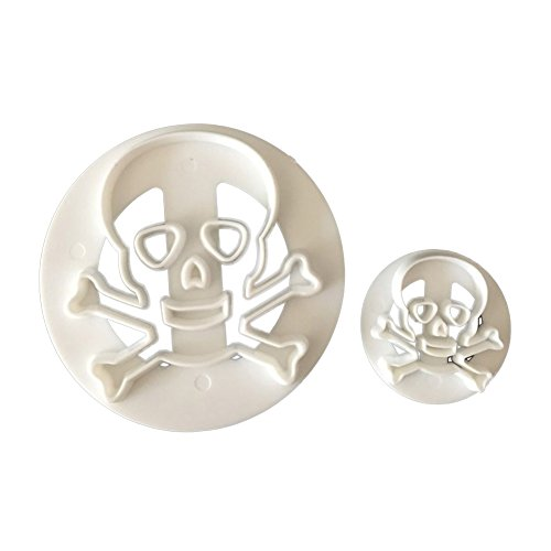 (Slendima Creative 2Pcs Eco-friendly Plastic Skull Head Biscuits Cutter, Halloween Party Cookies Mold Pastry Fondant Cake Decorating Supplies -)