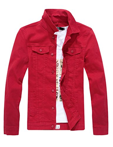 DSDZ Men`s Classic Slim Fit Motorcycle Denim Jacket Coat Red US L(Asian 4XL)