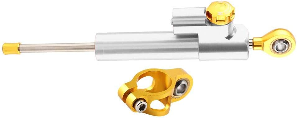 Aramox Amortisseur de direction contr/ôle universel de s/écurit/é de stabilisateur dalliage daluminium de guidon universel de moto or