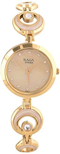 Titan Raga Swarovski Crystal, Mother of Pearl Dial, Gold/Silver/Brass Metal, Jewellery Design, Bracelet Style, Designer, Quartz Glass, Water Resistant Wrist (Mother of Pearl2/Gold22)