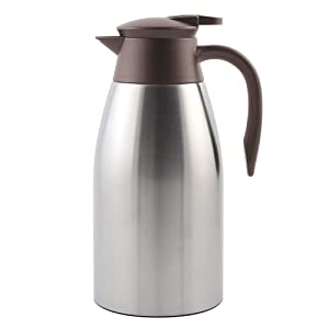 TOMAKEIT Stainless Steel Coffee Thermal Carafe - 2 Litre Double Walled Insulated Vacuum Flask - 24 Hour Heat Retention 68 Oz for Coffee or Tea(Sliver)
