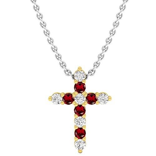 (Dazzlingrock Collection 18K Round Garnet & White Diamond Ladies Cross Pendant, Yellow Gold)