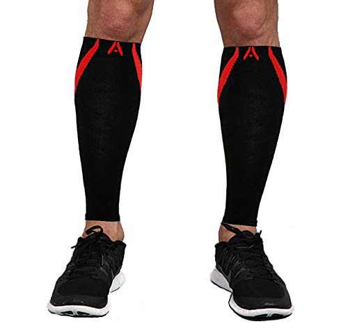 Attain Fitness Calf Compression Sleeves | One Pair Graduated Compression Sleeves for Shin Splints & Performance. Spiral Compression for Improved Recovery and Blood Flow (Medium, Red)