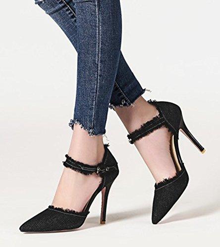 Aisun Donna Con Tacco A Spillo Unico Stiloso Con Fibbia Scarpe Da Punta Dorsay In Denim Con Cinturino Alla Caviglia Nero