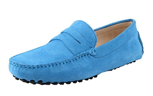 Baby blue suede Harput loafers from Dorateymur featuring a square toe, a slip-on style, a branded insole, a low block heel and a signature metal logo ring to the front.