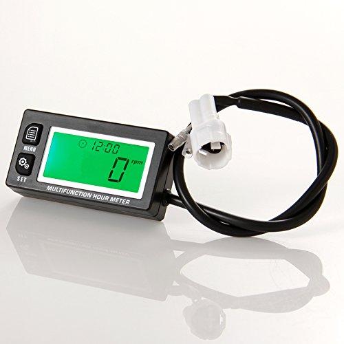 Runleader RL-HM028 tac/ómetro inductivo con el contador de horas de visualizaci/ón volt/ímetro iluminaci/ón de fondo para todos los motores de gasolina ATV UTV dirtbike motobike moto moto de nieve fuera de borda pitbike PWC embarcac