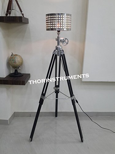 Surveyor Black Nautical Wooden Tripod Floor Lighting Lamp With Chrome Lamp Shade Home Decor Best Gift by THORINSTRUMENTS