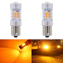 KaTur 7056 1156 BA15S 1141 P21W Amber LED Bulbs 2835 21SMD 10.5W High Power 12V Lens LED Turn Signal Back Up Reverse Tail Brake LED Light (Pack of 2)