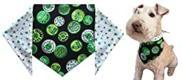 St. Patrick\'s Day Dog Bandana -St. Patrick\'s Shamrocks - Large - ties on a 14-20\