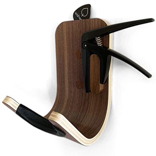 soporte pared de madera para guitarra bajo diseño moderno
