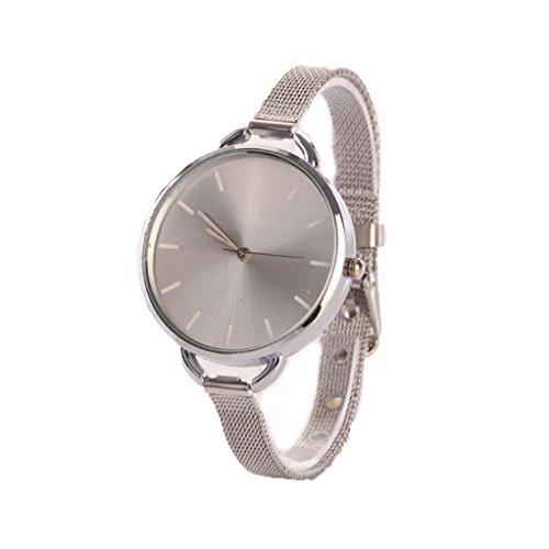 Sunnywill Frauen Analog Mesh Edelstahl Quarz Armband Dünn Armbanduhr Silber