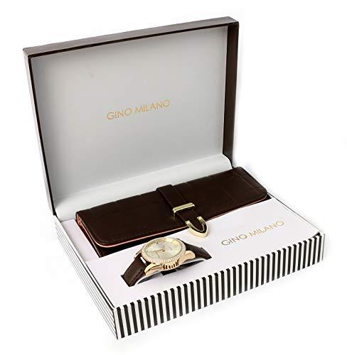 Women's Matching Leather Watch & Tri-Fold Wallet Gift Set - Dark Brown