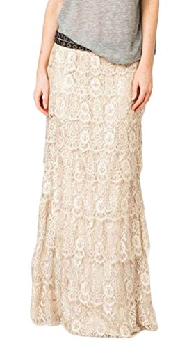 Tomblin Boho Gypsy High Waisted Ruffles Long Maxi Tiered Skirt (S, Apricot)