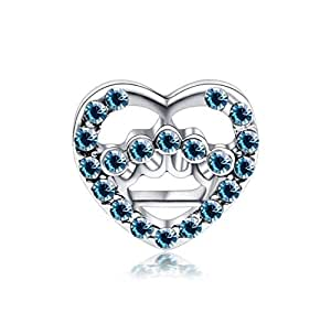 Blue Heart Charm by Crystal H Brand for Pandora Bracelet