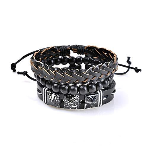 Herinos Mens Vintage Leather Bracelet Set 3Pcs Brown Black Braided Rope Bead Wrist Band Bangle for Women Boy (Diamond Custom Bracelets)