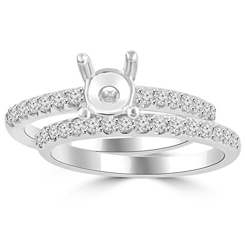 (0.70 ct Ladies Round Cut Diamond Semi Mounting Engagement Ring Set in Platinum In Size 16)