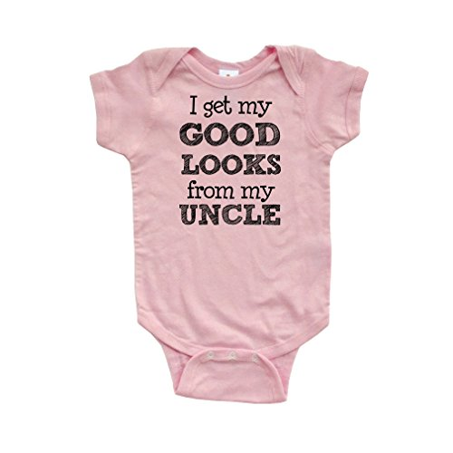- Apericots I Get My Good Looks From My Uncle Short Sleeve Baby Bodysuit, 6 Months, Light Pink